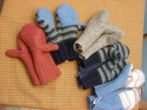 Pile of Felted Mittens